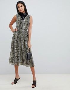 Плиссированное платье миди с леопардовым принтом и пайетками ASOS DESIGN - Мульти