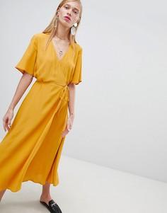 Платье миди с запахом New Look - Желтый