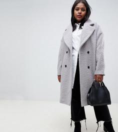 Фактурное двубортное пальто Glamorous Curve - Серый