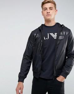 Трикотажный худи на молнии с большим орлом Armani Jeans - Серый