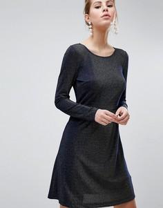 Короткое приталенное платье с длинными рукавами Traffic People - Темно-синий
