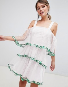 Кружевное ярусное платье мини из тюля ASOS DESIGN - Белый