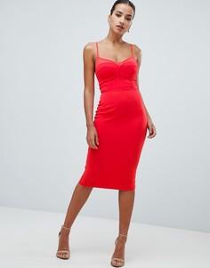 Платье миди с сетчатой вставкой Rare London - Оранжевый