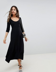 3f9a930eea7 Платье миди с овальным вырезом и асимметричным подолом ASOS DESIGN - Черный