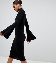 Облегающее платье миди с расклешенными рукавами ASOS DESIGN Tall - Черный
