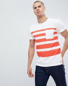 Плотная футболка в полоску с карманом Esprit - Белый