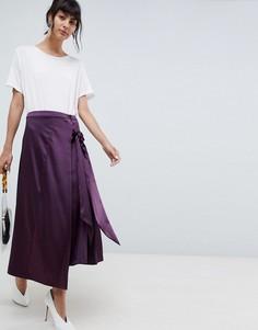 Юбка миди с завязкой ASOS WHITE - Фиолетовый