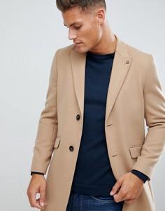 Бежевое пальто из искусственной шерсти Burton Menswear - Бежевый