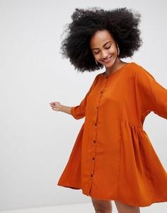 Свободное платье мини на пуговицах Monki - Коричневый