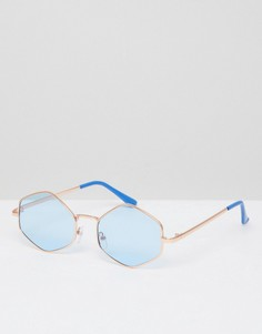 Восьмигранные круглые солнцезащитные очки с синими стеклами AJ Morgan - Синий