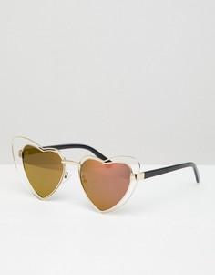 Солнцезащитные очки кошачий глаз с оправой в форме сердца и золотисто-розовыми стеклами AJ Morgan - Золотой