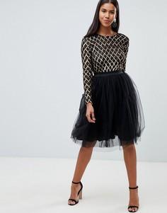 Платье миди с пайетками и юбкой из тюля Rare London - Черный