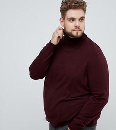 Бордовый джемпер с отворачивающимся воротником Burton Menswear Big & Tall - Красный