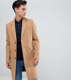 Бежевое пальто с добавлением шерсти ASOS DESIGN Tall - Рыжий