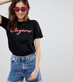 Черная футболка с принтом gorgeous ASOS DESIGN Tall - Черный