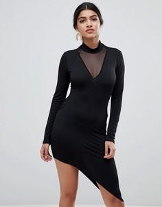 Облегающее платье с асимметричным подолом Glamorous - Черный