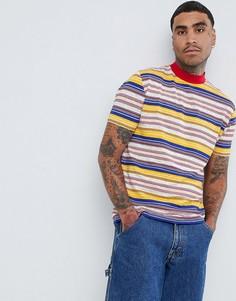 Свободная футболка ретро в полоску с высокой горловиной ASOS DESIGN - Мульти