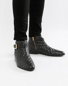 Черные кожаные ботинки челси со стеганой отделкой House Of Hounds Harpy - Черный