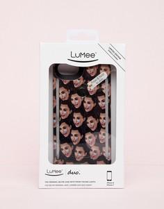 Черный чехол для iPhone 6/6s/7/8 с принтом LuMee DUO - Розовый