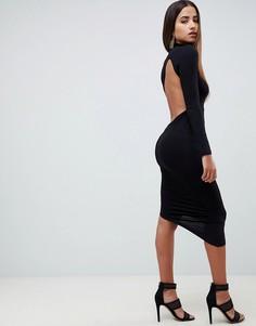 Облегающее платье миди с открытой спиной и длинными рукавами ASOS DESIGN - Черный