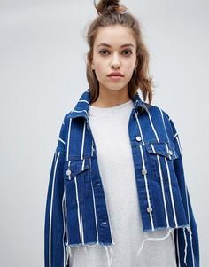 Джинсовая куртка в полоску Pull&bear - Синий