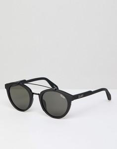 Круглые солнцезащитные очки с поляризованными линзами и двойной переносицей Quay Australia - Черный