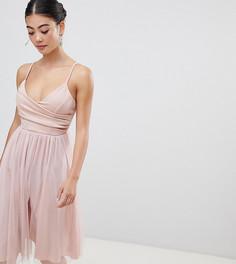 6aeb16039c6 Платье миди для выпускного на бретелях с запахом ASOS DESIGN Petite -  Розовый