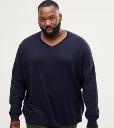 Темно-синий джемпер с V-образным вырезом Burton Menswear Big & Tall - Темно-синий
