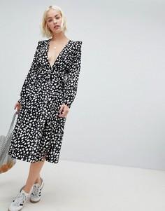 Платье миди с длинными рукавам и принтом в горошек Glamorous - Черный