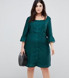 Чайное платье в горошек на пуговицах Glamorous Curve - Зеленый