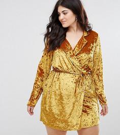 Платье-блейзер из мятого велюра с запахом Club L Plus - Золотой