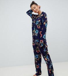 Пижамный комплект из 100% модала ASOS DESIGN Tall - Темно-синий