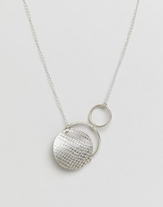 Посеребренное ожерелье с кольцом и диском People Tree - Серебряный