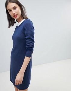 Трикотажное платье с круглым вырезом Esprit - Темно-синий