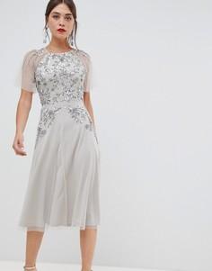 Платье миди с короткими рукавами и отделкой Frock & Frill - Серебряный