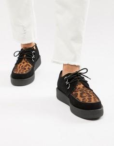 Ботинки из искусственной кожи на платформе с леопардовой вставкой T.U.K - Черный TUK