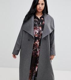Двубортное пальто с драпированным воротником Religion Plus - Серый