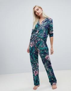 Пижамный комплект из 100% модала с принтом ASOS DESIGN - Темно-синий