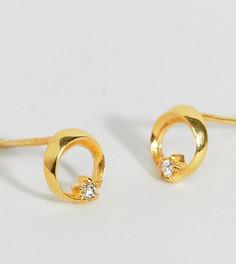 Серебряные позолоченные серьги-гвоздики со звездочками ASOS DESIGN - Золотой