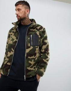 Куртка с камуфляжным принтом boohooMAN - Зеленый