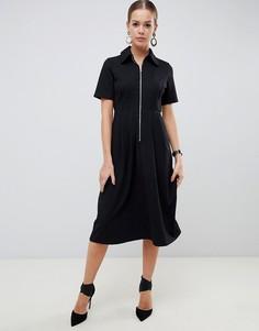 Платье-рубашка миди с молнией ASOS DESIGN - Черный