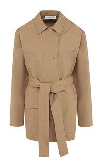 Однотонное пальто из смеси хлопка и вискозы с поясом Victoria Beckham