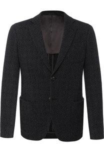 Однобортный пиджак из смеси шерсти и хлопка Giorgio Armani