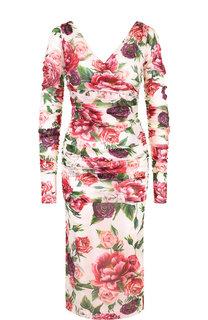 Шелковое платье-миди с V-образным вырезом и принтом Dolce & Gabbana