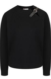 Хлопковый пуловер с декоративной отделкой REDVALENTINO