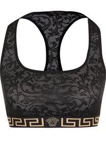 Спортивный кружевной бюстгальтер с логотипом бренда Versace