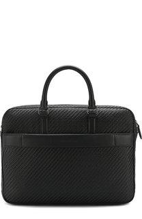 Кожаная сумка для ноутбука Pelle Tessuta с плечевым ремнем Ermenegildo Zegna