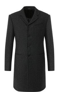 Однобортное шерстяное пальто Emporio Armani