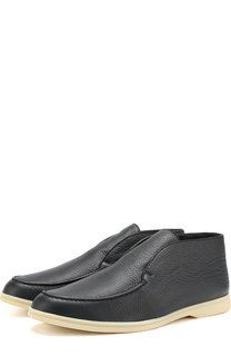 Кожаные ботинки без шнуровки с внутренней меховой отделкой Loro Piana