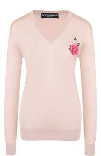 Шелковый пуловер с V-образным вырезом и декоративной отделкой Dolce & Gabbana